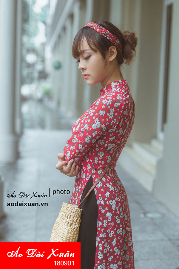áo dài hoa nhí đỏ - 180901