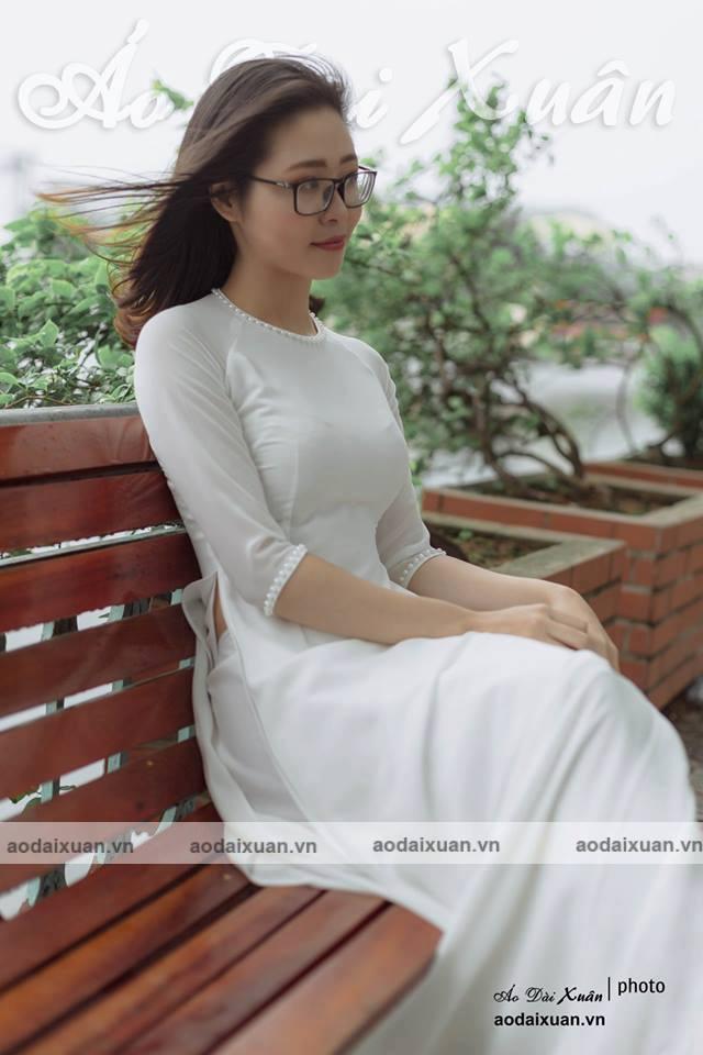 áo dài trắng 4 tà vải voan chiffon - 200701